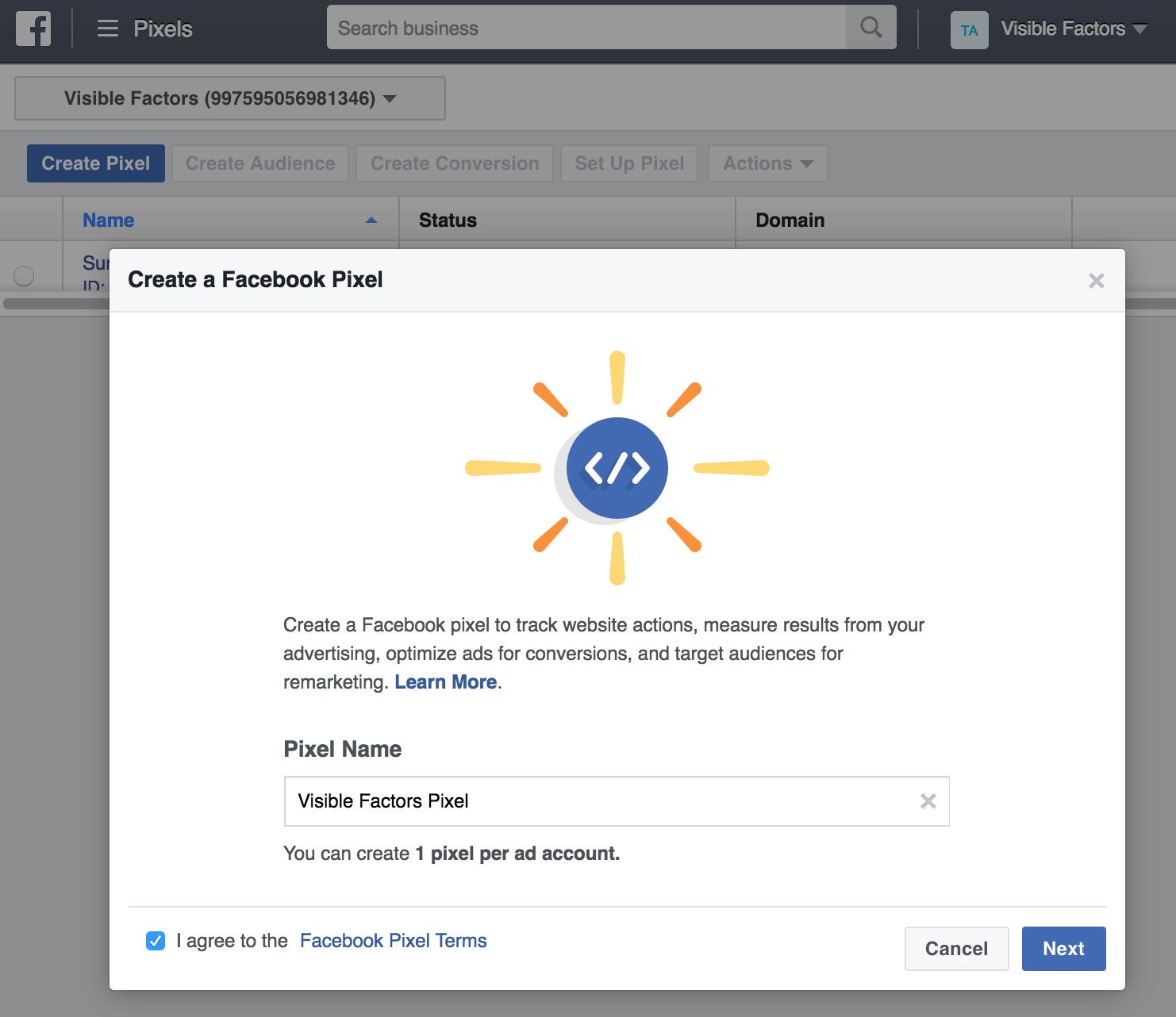facebook pixel creation