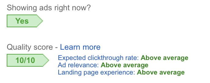 google adwords quality score example